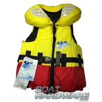 Child LARGE Blue Water Life Jacket Yellow/Red