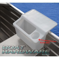 Storage Bin with Integrated Bait Board & Cup Holder