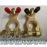 Solid Brass Battery Terminals (Positive & Negative)