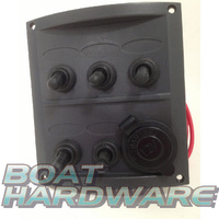 Waterproof 5 Switch Panel with Cig Socket