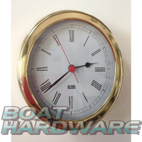 Quartz Clock Polished Brass with Roman Numerals