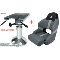 Relaxn Sports Bucket Boat Seat & Air Ride Pedestal Package (580-720mm)