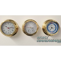 Set of 3 Clock & Weather Station & Tide Clock - Polished Brass