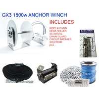 GX3 1500W Anchor Winch Combo 300m x 5mm Hi Spec Rope & Chain Kit