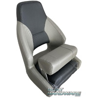 Mariner Deluxe Flip-Up Boat Helm Seats - Light Grey/Dark Grey
