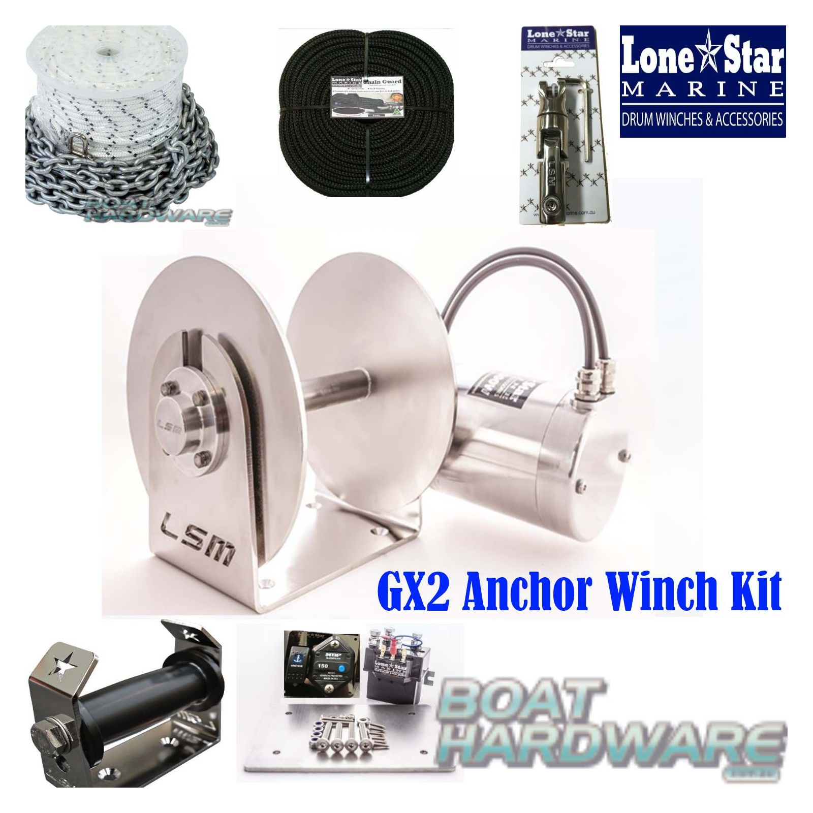 GX2ComboKit90m8mm gx2 1000w anchor winch combo 90m x 8mm kit lone star lone star anchor winch wiring diagram at gsmx.co