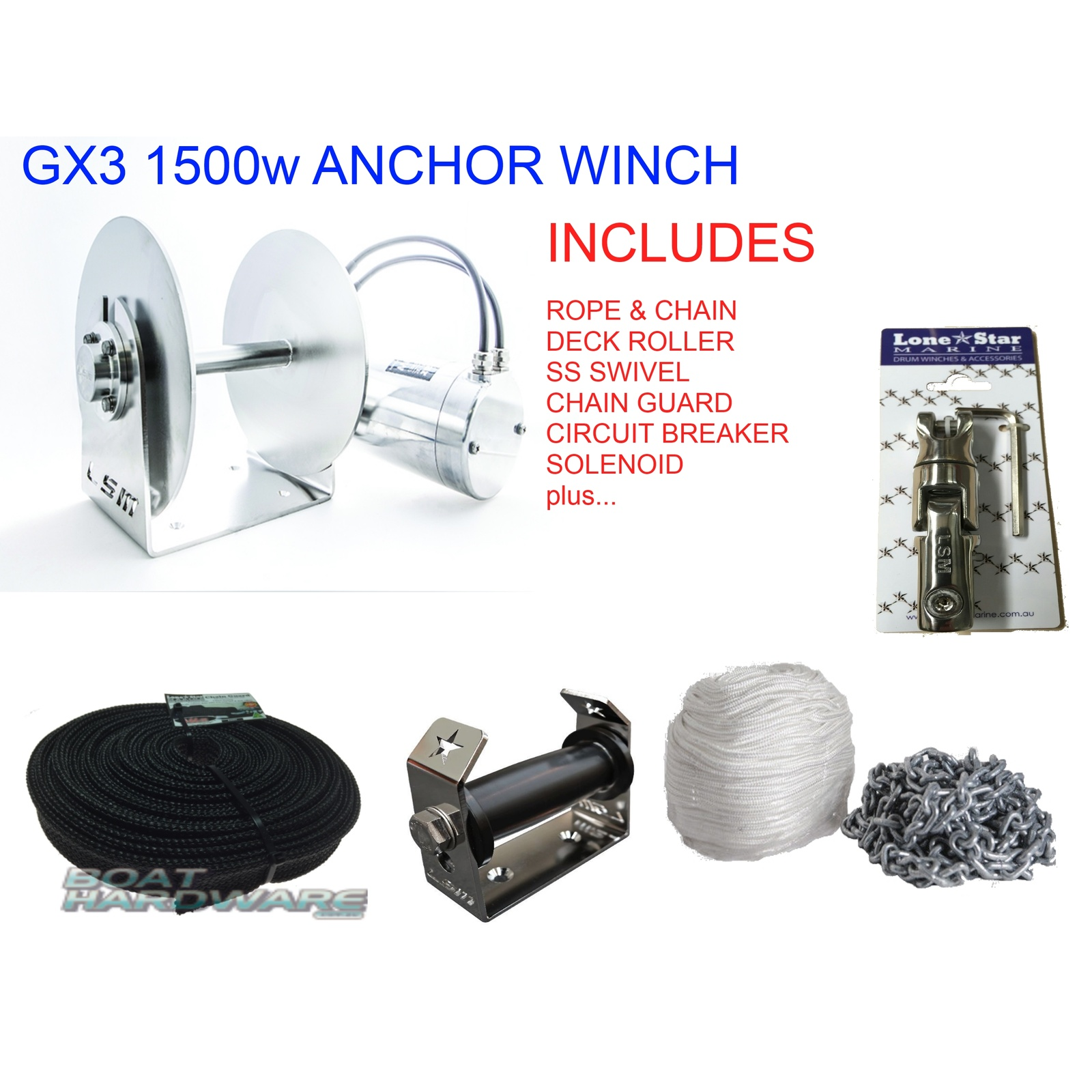 GX3 1500W Anchor Winch Combo RC8x130