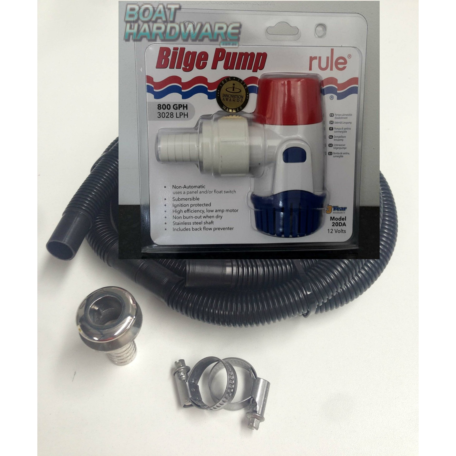 Electric Bilge Pump 800GPM KIT incl Hose & Fittings